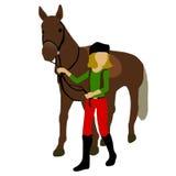 Piękny koń i horsewoman glansowani Obrazy Royalty Free