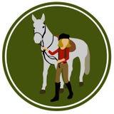 Piękny koń i horsewoman w okręgu Zdjęcie Stock