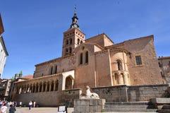 Piękny kościół San Millan Z łukami W Arcads Pod Swój rośliną W Segovia Architektury historii podróż obraz stock