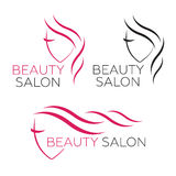Piękny kobieta loga szablon dla włosianego salonu Obraz Royalty Free