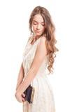 Piękny kobieta model z długim naturalnym włosy Zdjęcia Royalty Free