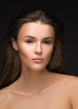 Piękny kobieta portreta twarzy studio Mody fotografia, moda styl obraz royalty free