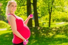 Piękny kobieta w ciąży ćwiczy w parku Obraz Royalty Free