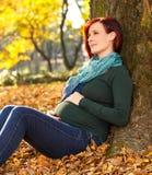 Piękny kobieta w ciąży obsiadanie w parku Fotografia Stock