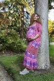 Piękny kobieta w ciąży ono uśmiecha się w parku fotografia royalty free