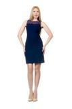 Piękny kobieta w ciąży w błękit sukni odizolowywającej dalej zdjęcie stock