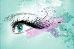 Piękny kobiety oko, grafika z atramentem w grunge stylu ilustracji