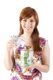 Piękny kobiety oszczędzania pieniądze zdjęcia stock