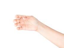 Piękny kobiety ręki mienie odizolowywający na białym tle Zdjęcie Royalty Free