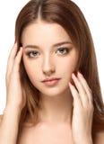 Piękny kobiety twarzy portret z Czystym Świeżym skóry zakończeniem up Skóry opieki Face obrazy stock