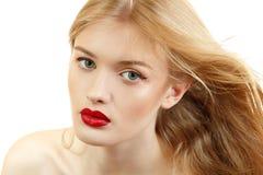 Piękny kobiety twarzy zbliżenie z długim blond latającym włosy i viv Obraz Royalty Free