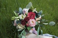 Piękny kolorowy ślubny bukiet Handmade kwiat tkaniny foamiran Fotografia Stock