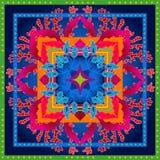 Piękny kolorowy ciosowy geometryczny wzór z Indiańskimi sztuka motywami Zdjęcie Stock