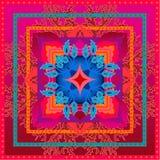 Piękny kolorowy ciosowy geometryczny wzór z Indiańskimi sztuka motywami Fotografia Royalty Free