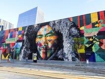Piękny Kolorowy malowidło ścienne w porcie morskim Rio De Janerio, Brazylia Obrazy Royalty Free