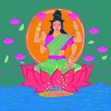 Piękny kolorowy rysunek Hindi bogini na wodzie i kwiacie ilustracja wektor