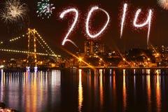 Piękny kolorowy tło dla nowy rok z fajerwerkami Obrazy Royalty Free