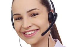 Piękny konsultant centrum telefoniczne w hełmofonach obrazy stock