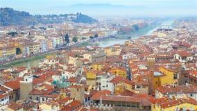 Piękny krajobraz centrum Florencja, Włochy Typ stary miasteczko i Arno rzeka zdjęcie wideo