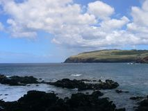 Piękny krajobraz i głęboki błękitny Pacyficzny ocean Zdjęcia Royalty Free