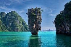 Piękny krajobraz James Bond Koh Tapu, Phang Nga zatoka, Tajlandia zdjęcia stock