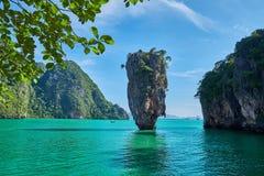 Piękny krajobraz James Bond Koh Tapu, Phang Nga zatoka, Tajlandia fotografia royalty free