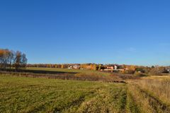 piękny krajobraz jesieni Zielona łąkowa trawa i błękitny bezchmurny niebo zdjęcia royalty free
