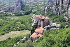 Piękny krajobraz Meteor Monaster Rousanou Kalambaka, Kastraki, środkowy Grecja Fotografia Stock