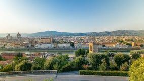 Piękny krajobraz nad timelapse, panorama na dziejowym widoku Florencja od Piazzale Michelangelo punktu Włochy zbiory