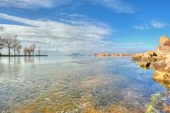Piękny krajobraz od jeziornego Balaton w Węgry Zdjęcie Royalty Free