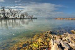 Piękny krajobraz od jeziornego Balaton w Węgry Zdjęcie Stock