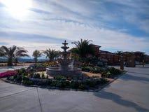 piękny krajobraz z fontanną obrazy stock