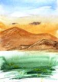 Piękny krajobraz: zielona trawa, wzrost góry, niebieskie niebo i chmury, ilustracji