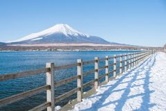 Piękny krajobrazowy widok Fuji góra lub Mt Fuji zakrywał z białym śniegiem w zimie sezonowej przy Kawaguchiko jeziorem obraz stock