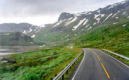 Piękny krajobrazu, scenerii widok Norwegia i, zielona sceneria wzgórza i góra stronniczo zakrywający z śniegiem Zdjęcie Stock