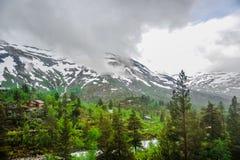 Piękny krajobrazu, scenerii widok Norwegia i, zielona sceneria wzgórza i góra stronniczo zakrywający z śniegiem Obrazy Royalty Free