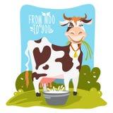 Piękny, kreskówka, płaska krowa w wiejskim krajobrazie ilustracji