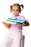 piękny książek dziewczyny stos Obrazy Stock