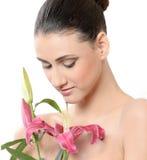 piękny kwiat dziewczyną Obrazy Royalty Free