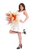piękny kwiatu dziewczyny szczęśliwy biel Zdjęcie Royalty Free