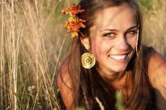 piękny kwiatu dziewczyny włosy Zdjęcia Stock