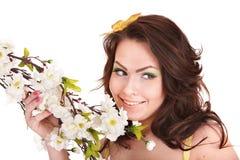 piękny kwiatu dziewczyny włosy tęsk wiosna Obrazy Royalty Free