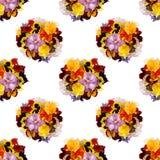 Piękny kwiecisty bezszwowy tło z barwiącymi pansies Obraz Stock