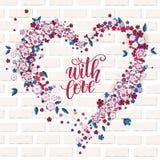 Piękny kwiecisty serce z literowaniem serce karty miłość kształtu walentynki obraz royalty free
