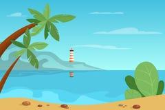 Piękny lato krajobraz z bakanem na tle ilustracja wektor