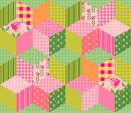 Piękny lato patchworku wzór Bezszwowy tło w menchii i zieleni brzmieniach Fotografia Royalty Free