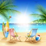 Piękny lato plaży tło zdjęcie stock