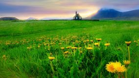 Piękny lato wieczór krajobraz w Iceland obraz stock
