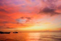 Zmierzch przy półwysep jukatan plażą Obraz Stock