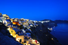 Piękny lekki wieczór w Oia miasteczku Obraz Stock